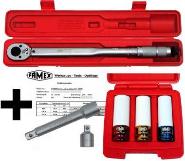 FAMEX 10886-3N-KS Drehmomentschlüssel 30-210 Nm Sparset inklusive Spezial Einsätze für Radschrauben - mit Kalibrierschein